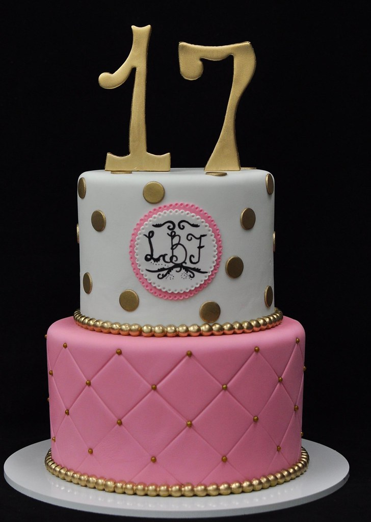 Super Pink Gold And White 17Th Birthday Cake Jenny Wenny Flickr Funny Birthday Cards Online Fluifree Goldxyz