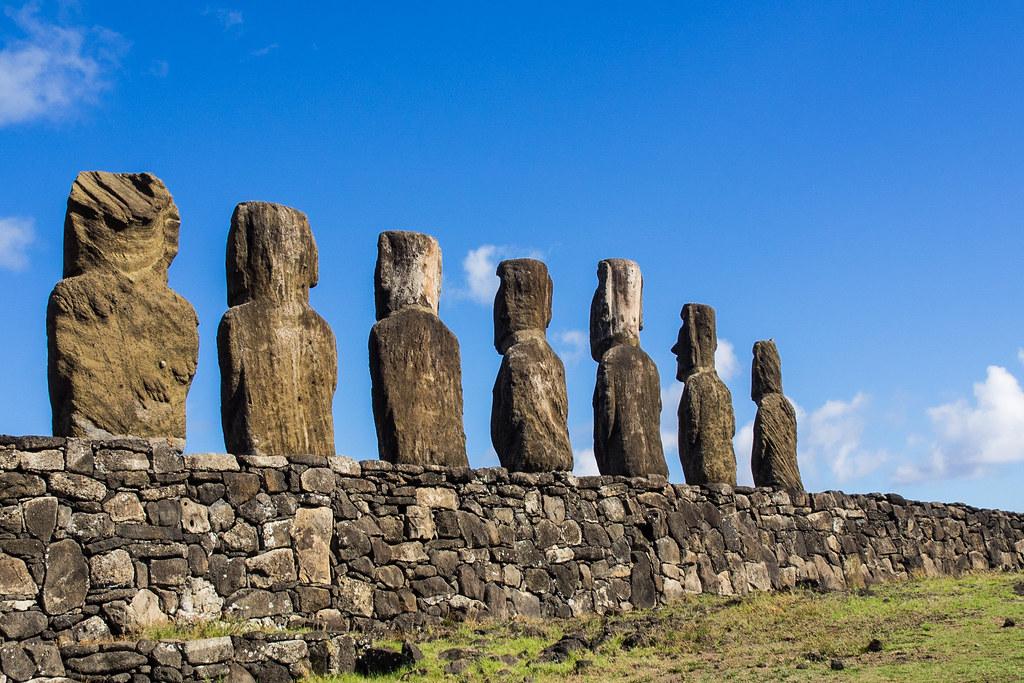 Ahu Tongariki where 15 moai statues stand with their backs