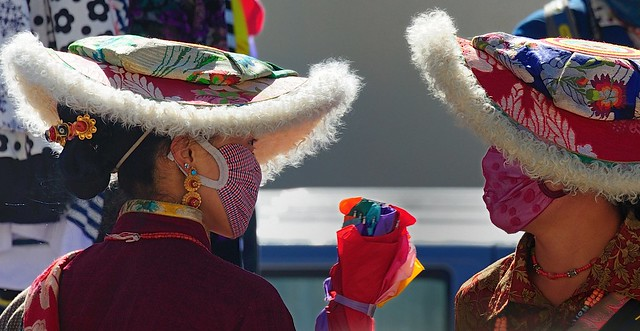 "The traditional ""Flat Hat"" of lambskin, Tibet 2014"