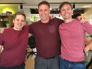 Mauve triplets in the @Clearleft office: @PaulRobertLloyd, @HarryBr, and @Boxman. | by adactio