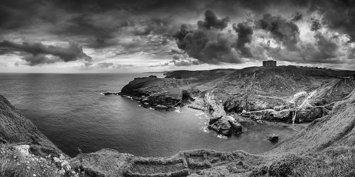 castle tintagelcastle panorama greatbritain hdr england seascape tintagel cornwall bw landscape vereinigteskönigreich gb