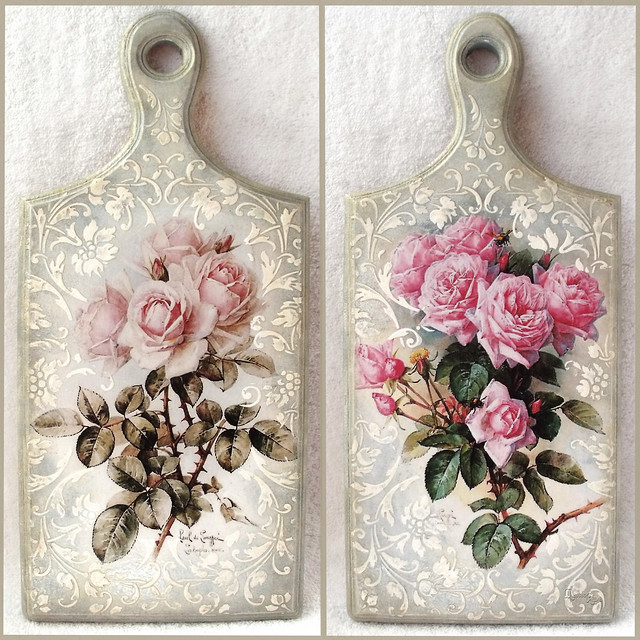 """Cutting board with decoupage """"Roses """""""