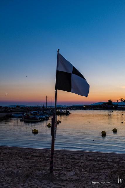 Sundown with flag
