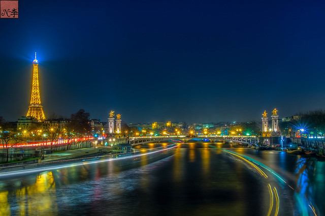 Pont Alexandre III and Eiffel Tower, Paris at Night (3 of 1)