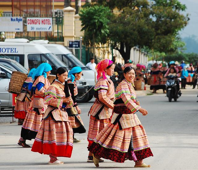 Hmong women at a market in Sapa