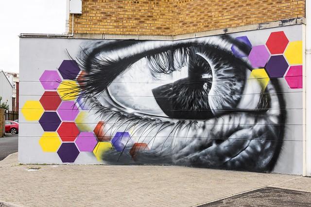 Graffiti or artwork, along the Foyle Embarkment