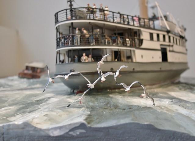 Seagulls in flight formation -S.S.Nobska Diorama, Rex Stewart