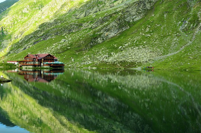 Balea Lake - chalet reflection