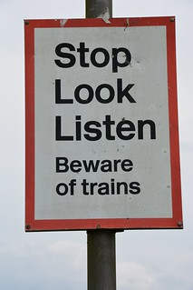 Stop, Look, Listen, Warning Sign Near Poltross Burn Milecastle, Hadrian's Wall, Cumbria, England, 12 July 2014, L78   by Lynn Rainard
