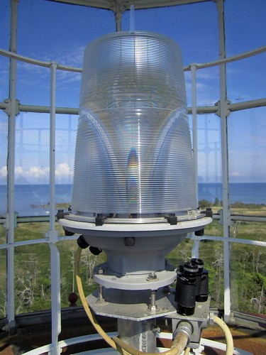 Fresnel Lens housing the lamp at Chantry Island Lighthouse | by meemainseen