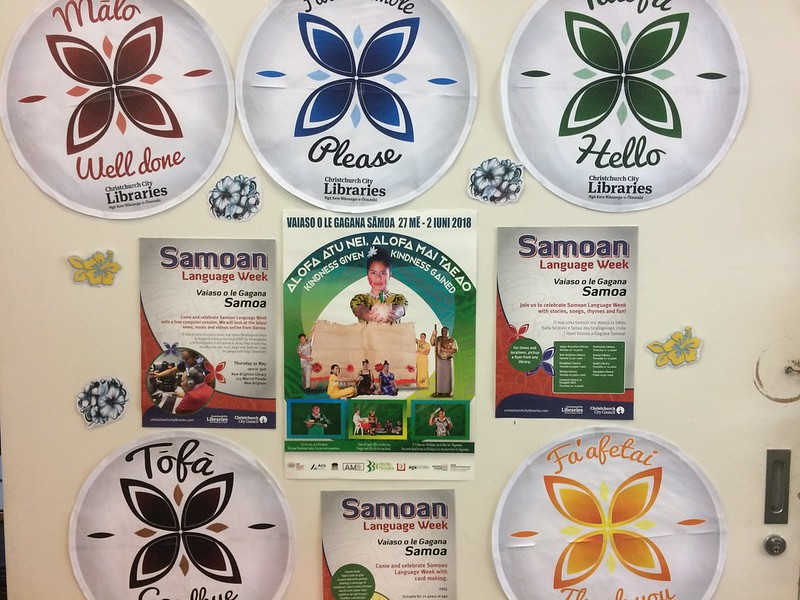 Sāmoan Language Week display, Parklands Library,