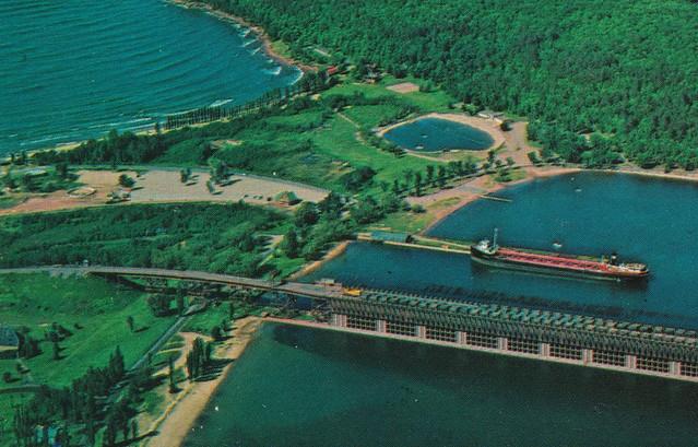 SHIP Marquette MI 1950s Self-unloading Great Lakes Iron Ore Steamer Freighter LS & I Railroad Iron Ore Taconite Docks Lake Superior & Ishpeming Railroad Co. Presque Isle Harbor2