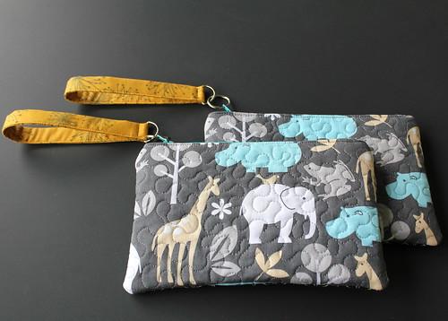elephant modern pattern quilt wallet machine domestic purse quilting strap wrist wristlet quiting
