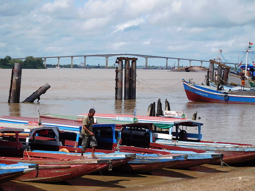 bridge boats river surinameriver paramaribo suriname