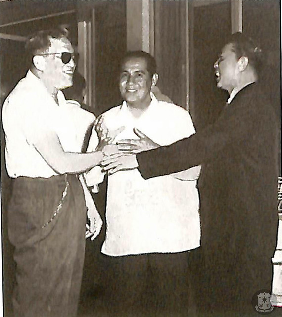 Presidential candidate Macapagal with Senator Marcos and General Campaign Manager and Manila Mayor Arsenio Lacson, whom he considered as a presidential bet in the future.