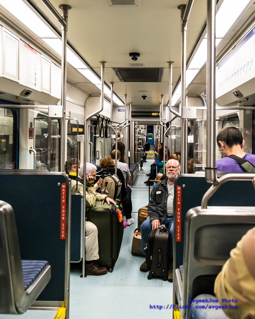 Inside a Sound Transit Light Rail Car Pulling Out of Westl