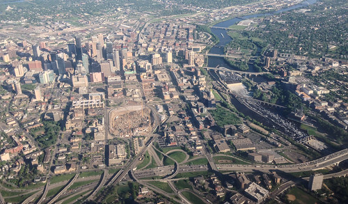 Aerial Minneapolis, Metrodome Deconstruction, and Mississippi River | by Tony Webster