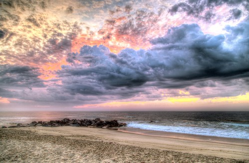2015 spring sunrise beach jetty atlantic ocean oceangrove nj og hdr