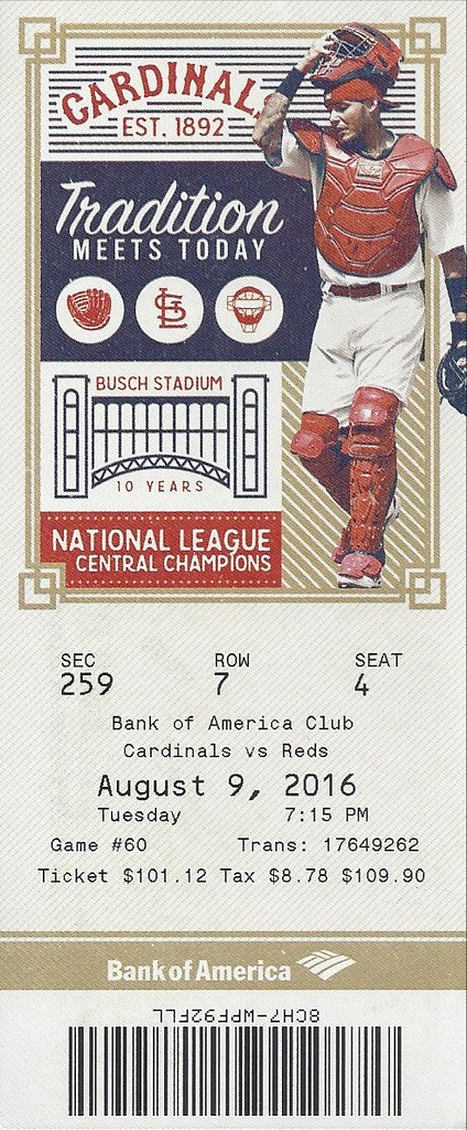Louis Cardinals Ticket Stubs St