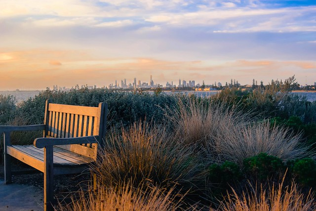 A spare seat to watch the sunset over Melbourne