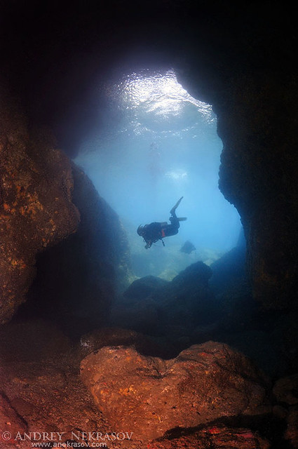 Diver looking into the cave. Bohol Sea, Philippines, Southeast Asia