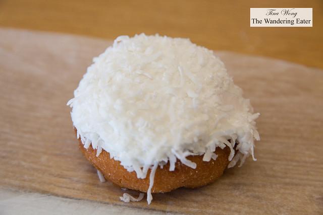Coconut doughnut filled with marshmallow cream fromHoehn's Bakery