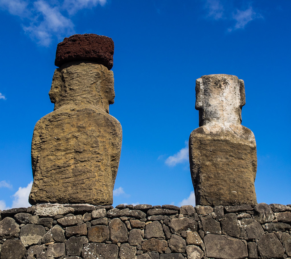Moai Statues At Ahu Tongariki, The Largest Ceremonial