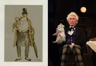 Left: Costume design for fat man with dog by Julia Trevelyan Oman for her designs for La bohème (The Royal Opera, 1974) JTO/025/049 20 © Sir Roy Strong. Right: Robert Allenby as Alcindoro in La bohème, The Royal Opera © ROH/Bill Cooper | by Royal Opera House Covent Garden
