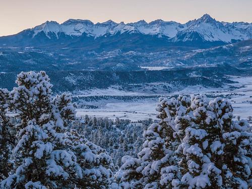 winter sky mountain snow storm mountains sunrise dawn colorado unitedstates rockymountains ridgway sanjuanmountains
