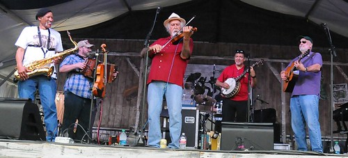 BeauSoleil, Charles Neville, Michael Doucet, Don Vappie, David Doucet at Jazz Fest. Photo by Black Mold.