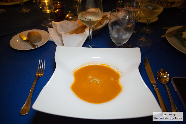 Anguillan lobster bisque and lobster raviolo