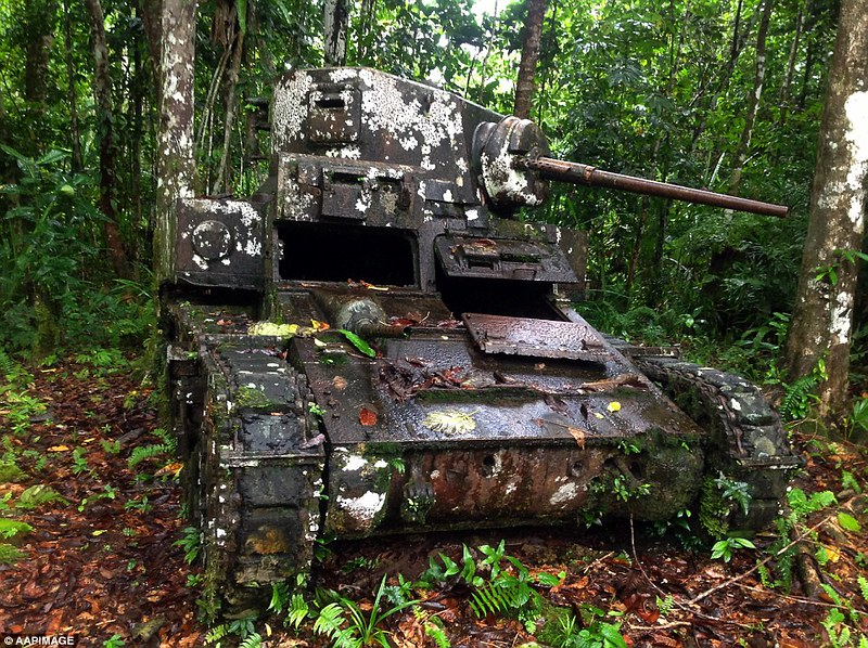 An M3 Stuart light tank lies at the same place where it was disabled by Japanese forces 72 years ago in 1943