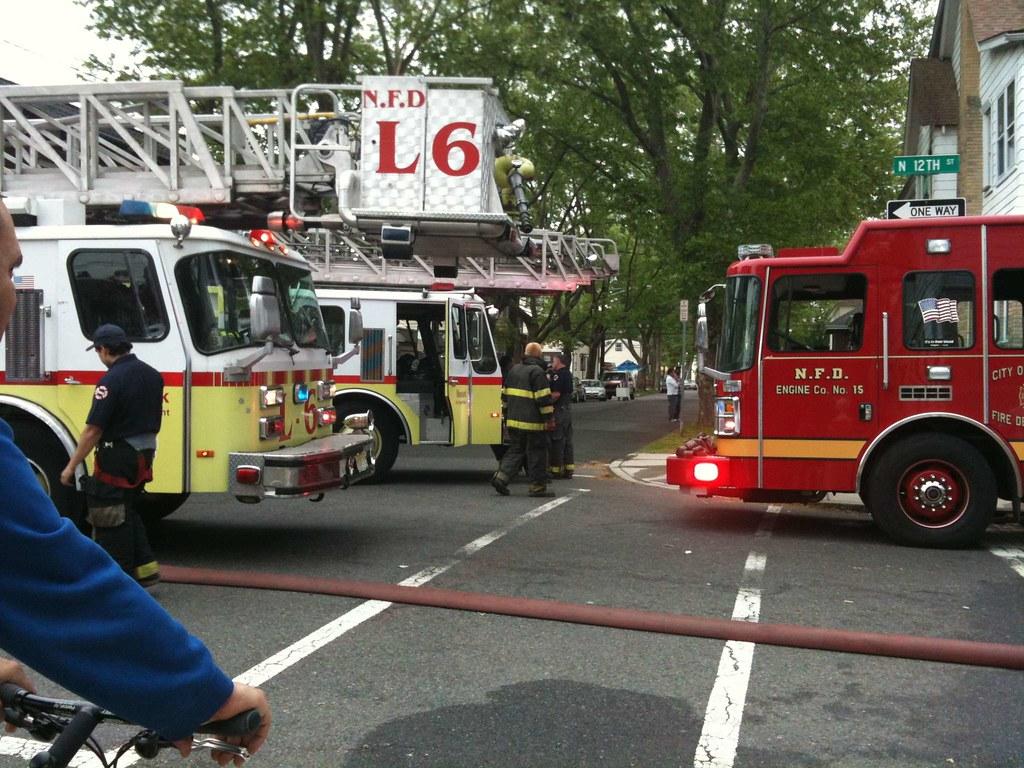Newark, NJ Fire Ladder 6, unlabeled ladder truck, & Engine
