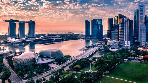 singapore color morning pastel sky skyscraper sunrise