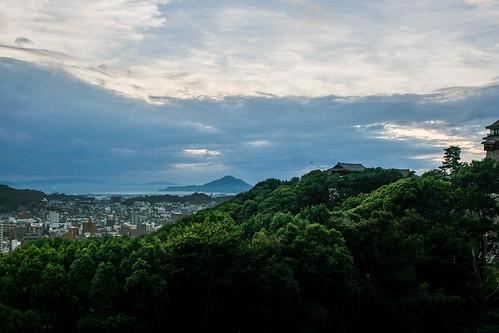 july 12th 2016 japan asia shikoku matsuyama matsuyamashi hdr castle view viewpoint landscape cityscape sunset