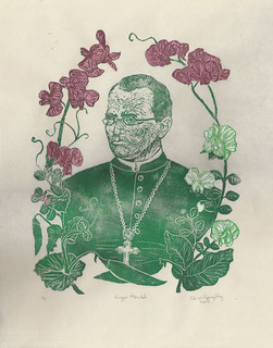 Gregor Mendel with his pea plants