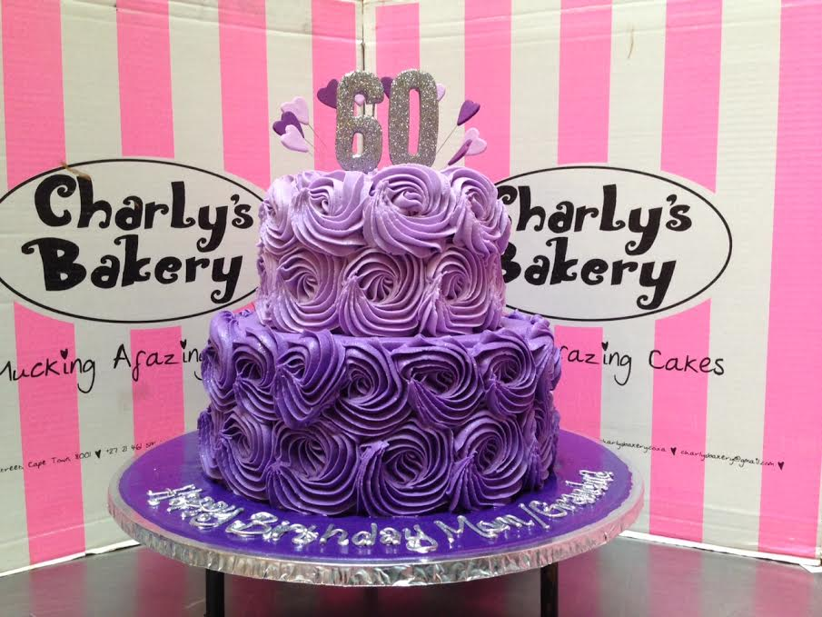 Stupendous 2 Tier Rose Swirl 60Th Birthday Cake In Shades Of Purple With Funny Birthday Cards Online Ioscodamsfinfo