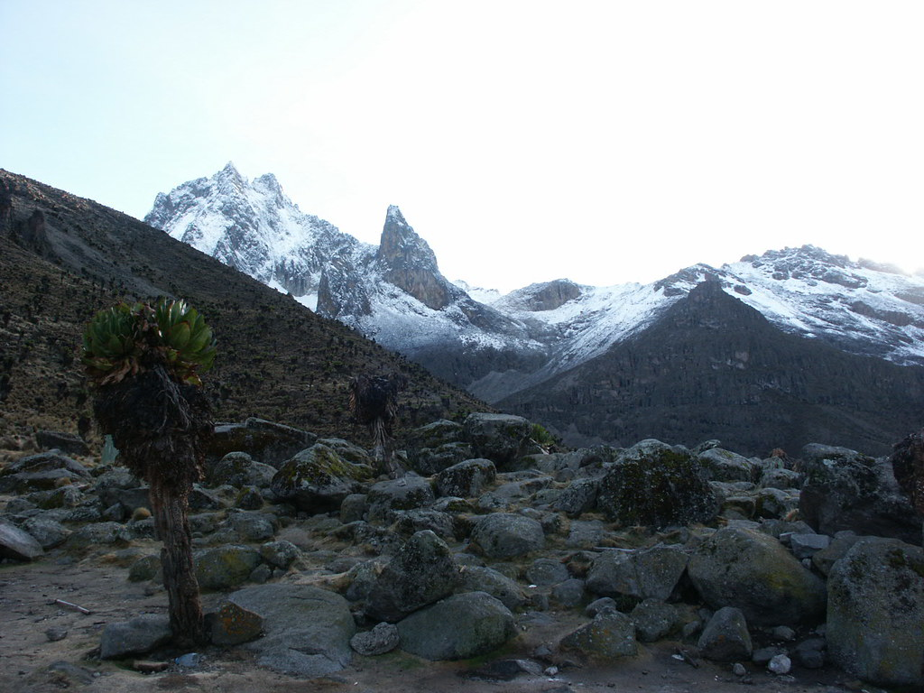 Batian and Nelion, the twin summits, from Mackinder's Camp.