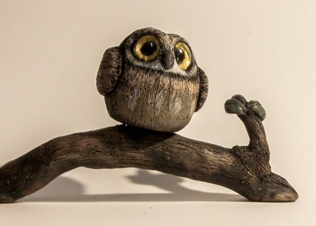 Owl with modeling clay