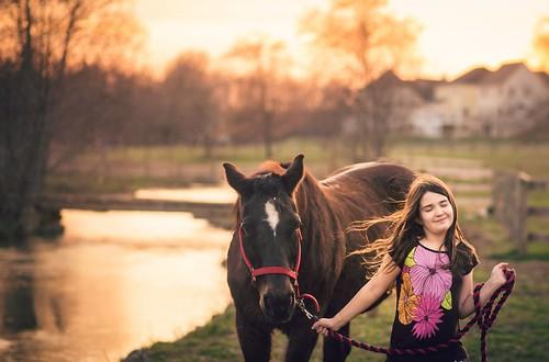 sunset horse girl creek happy golden stream child sundown happiness magichour goldenhour quarterhorse littledoglaughedstories