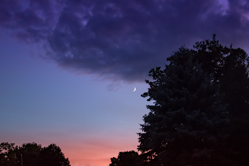 crescent moon evening dusk sunset astronomy sky clouds