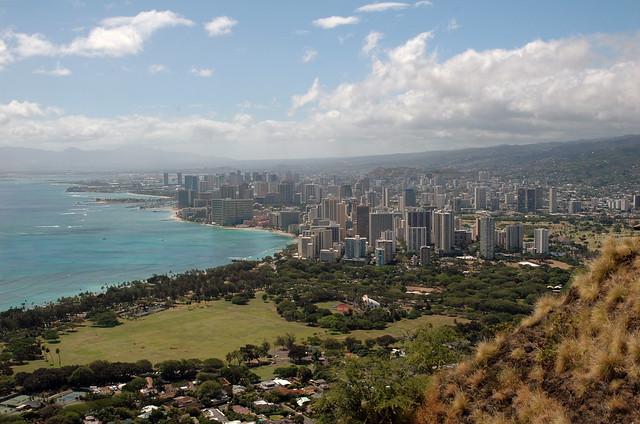 Honolulu, Waikiki and Kapiolani Park from Diamond Head Oahu, Hawaii, USA