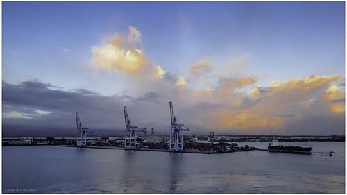 barbados containercrane containerterminal harbor harbour ship water pointeàpitre grandeterre guadeloupe