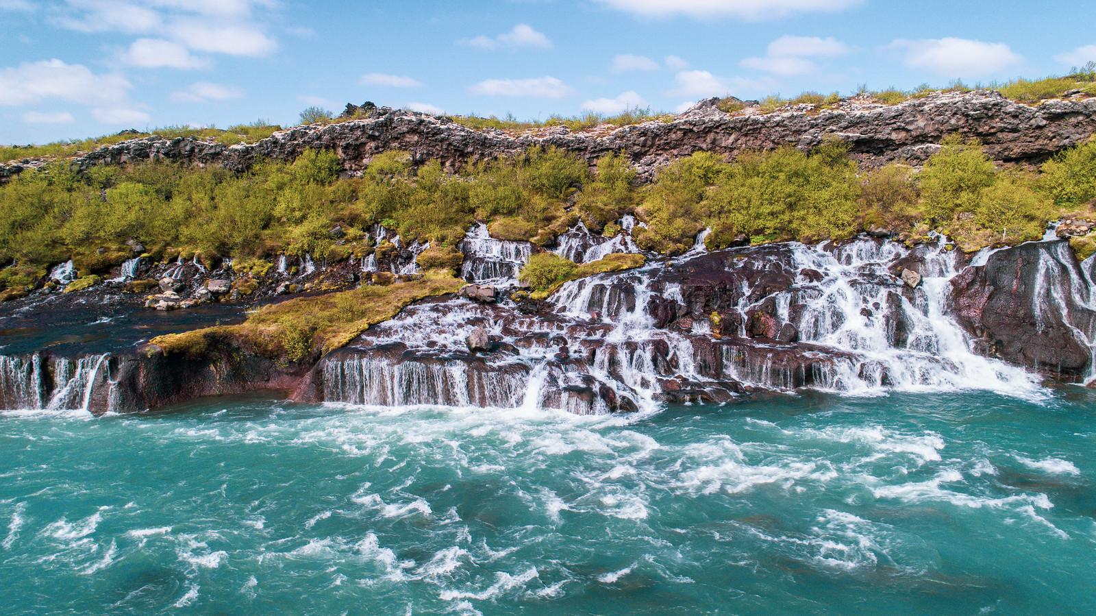 Hraunfossar waterfalls (Lava Falls)