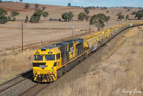 ssr101 ssrclass emd diesel downeredi ssr southernshorthaulrailroad georgewestonsfood graintrain freighttrain westons temora jindalee 3142