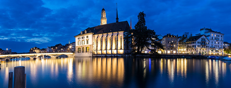 Zurich - Wasserkirche by night by Lukas Schlagenhauf, on Flickr