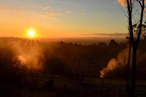 autumn sunset sun weather rural garden nikon sheep farm smoke australia victoria vic gippsland burnoff strzeleckiranges burningoff westgippsland d5100 strzeleckis yarragonsouth nikond5100 phunnyfotos