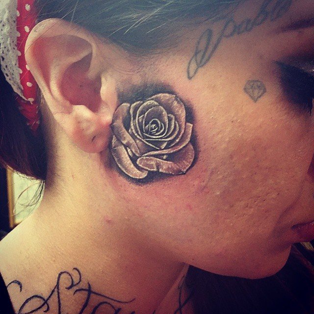 SMALL ROSE TATTOO ABOUT 2×2 INCH .IT WAS FUN #facetattoo