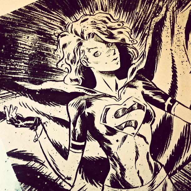 #Supergirl comission | #dccomics #superman #comics #canson #brushpen #pentel