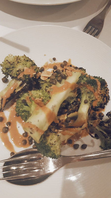 Grilled broccoli, almond butter and capers